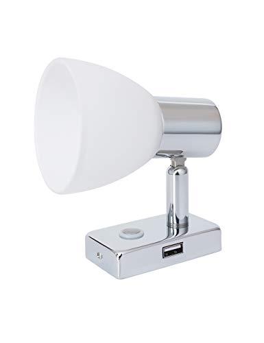 Lighteu, Reflector para Techo/Pared USB 12V 3W D1, Acabado en Cromo, luz de Lectura,...