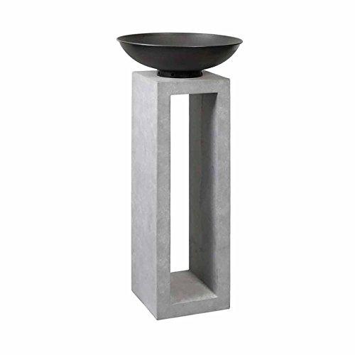 OUTLIV. Feuersäule Garten Feuerschale auf Säule Design Gartendeko 50x50x105cm Metall/Clayfibre-Leichtbeton Zement-Grau