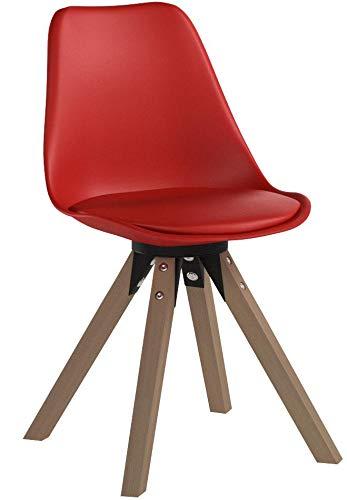 Duhome Elegant Lifestyle Stuhl Esszimmerstühle Küchenstühle !2 er Set! in ROT Küchenstuhl mit Holzbeine Sitzkissen TYP9-518M Esszimmerstuhl Retro Küchenstuhl Farbauswahl