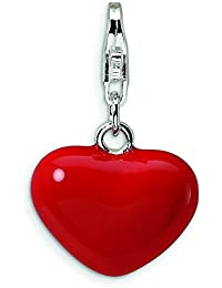 Broche de plata de ley 3-D rojo esmaltado con forma de corazón con cierre de broche con forma para pulsera - mide 24 x 15 mm - JewelryWeb