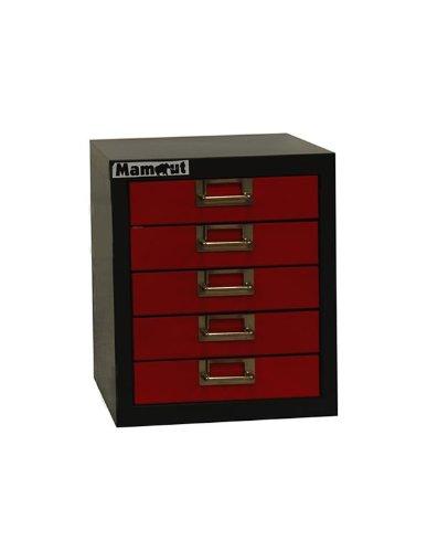 ADB Schubladenschrank | Bürocontainer 5 Schubladen, RAL7016/3000, 27x34.2x32 cm