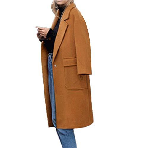 New York Tweed-jacke (Geili Mäntel Damen Wollmantel mit Reverskragen Knielang Wintermantel Einfarbig Tweed Mantel Frauen Elegante Wolle Mantel Große Taschen Trenchcoat Langmantel Winterjacke Coat)