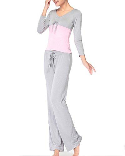 Donna Casual Tuta Sportive Shirts Magliette Tops + Pantaloni Palestra Sportivi Grigio Pink
