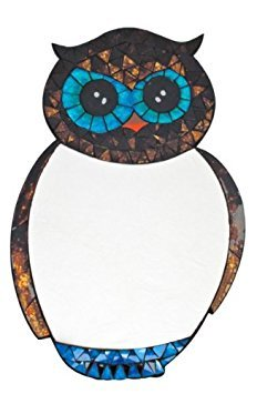 SUPERB OWL MOSAIC MIRROR WITH STUNNING MOTTLED BLUE AND BROWN GLASS TILES - WALL MOUNTED