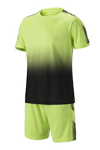 n Fußball Kleidung Oberteile und Shorts Set Training Wettbewerb Sportbekleidung Teamtrikots, Grün/28 (Mädchen Fußball Kostüme)