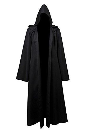 Erwachsene Kostüm Kenobi Obi Wan Für Deluxe - Fuman Star Wars Jedi Robe Deluxe Cosplay Kostüm Umhang mit Kapuze Schwarz L