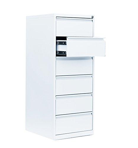Weißer Karteischrank Karteikartenschrank DIN A5 quer zweibahnig 6 Schubladen Signalweiß RAL 9003 565627