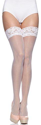Merry Style Damen halterlose Strümpfe plus size MS 164 15 DEN (Weiß, XL-XXL (46-54))
