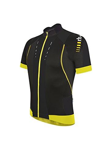 zero rh+ Herren Fahrradtriko Phantom Jersey FZ, Black/Acid Yellow, XL
