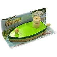 Juguete barco de madera con globo propulsor. de Pipa Lupina. (Barco en verde)