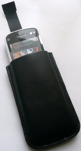 Emartbuy Schwarze Tasche / Case / Sleeve / Halter (Groß) Mit Pull Tab Mechanismus Geeignet Für Apple Ipod Touch 4 (4. Generation) + Lcd Screen Protector -