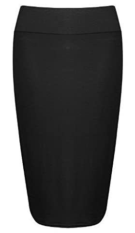 WOMENS LADIES JERSEY PULL UP TUBE PENCIL BODYCON ELASTICATE OFFICE