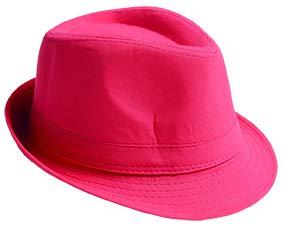 Fedora Hut * in verschiedenen Farben * klassisches Accessoire von Mottoland * (Neon Pink)