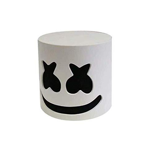 Ani·Lnc Marshmello Cosplay Latexmaske Marshmello Cos HeadgearHalloween Cosplay Erwachsene Cos Zubehör Weiß Schwarze Augen Freie Größe (Halloween-augen Und Weiß Schwarz)