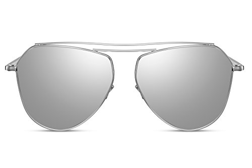 Cheapass Sonnenbrille Verspiegelt-e Piloten-Sonnenbrille Silber UV400 Flat-Mirror Metall Damen Herren