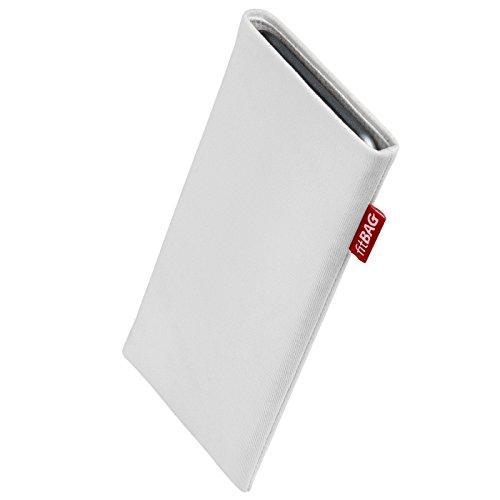 fitBAG Rock Weiß Handytasche Tasche aus Textil-Stoff mit Microfaserinnenfutter für Haier Voyage V6 | Hülle mit Reinigungsfunktion | Made in Germany