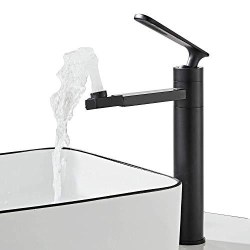 360° drehbar Auslauf Badarmatur Waschtischarmatur für Bad Wasserhahn Einhebelmischer Waschbecken Mischbatterie Waschtischbatterie, Schwarz-29cm