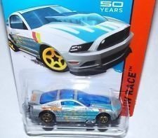 2014 Hot Wheels \'13 Ford Mustang GT Silver and Blue 161/250 HW RACE Track Aces 50th Year Mustang Anniversary