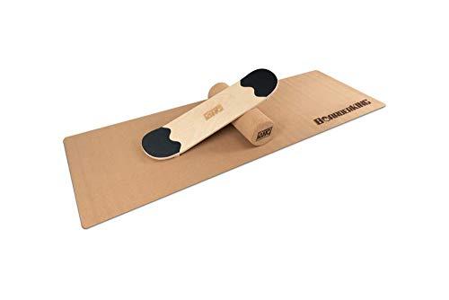 Skate Set inkl. Rolle und Matte - Indoorboard Skateboard Surfboard Trickboard Balanceboard Balance Board (150 mm (Kork))