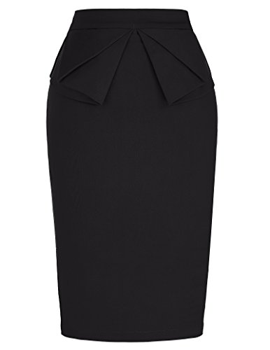 solid-slim-stretchy-pencil-skirt-for-women-knee-length-black-m-kl-1-cl454