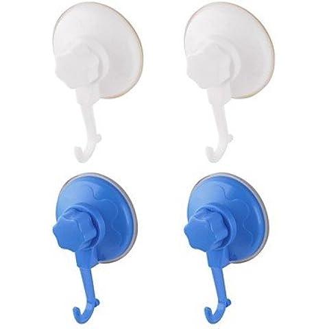 Bagno singolo gancio con potente ventosa, una suite di 4 montato, 2 bianco, 2 blu,A6061-C3