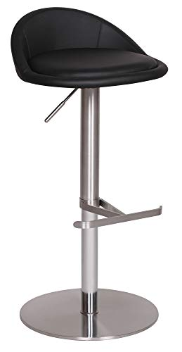 rhocker BALI mit Rückenlehne   Edler Gastro Barstuhl Sitzfläche Rund 360° Drehbar   Exklusiver Tresenstuhl mit Fußstütze Standfest   Sitzhöhe 54-79 cm höhenverstellbar   Farbe: Schwarz ()