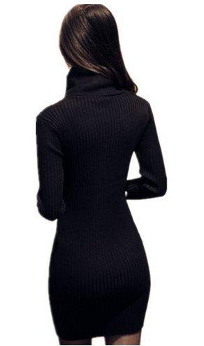 PLAER Femmes Col châle en tricot Chandail Extensible élasticité à manches longues Slim Fit robe pull Noir