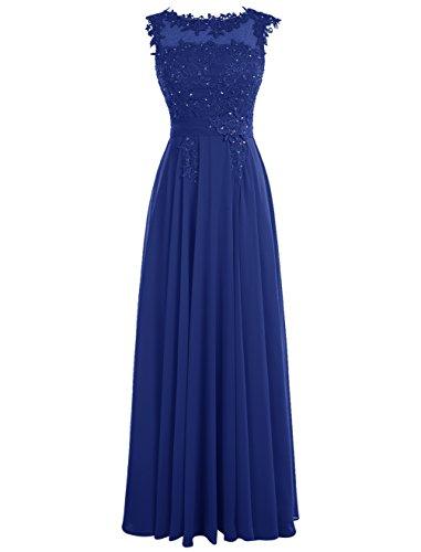 Dressystar Robe femme, Robe de soirée/ Cérémonie longue, appliques, en Mousseline Bleu Saphir