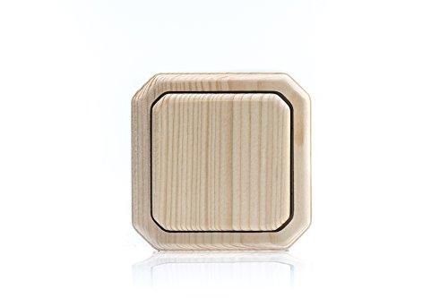 Holzschalter Lichtschalter/Steckdosen Holz Fichte roh (unbehandelt) 1-fach Wechselschalter