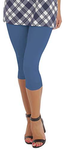 BeLady Damen Leggings 3/4 Capri aus Baumwolle Blickdichte Leggins Viele Größen Viele Farben Schwarz Grafitgrau Dunkelblau Grau Weiß Blau Rosa Braun (Denim, 7XL - 54)