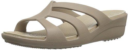 crocs Sanrah Strappy Wedge, Damen Offene Sandalen mit Keilabsatz, Beige (Mushroom/Cobblestone), 36/37 EU (Heel Strap Sandale Wedge)