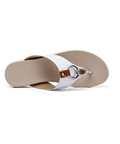 CHAOXIANG Mules Femme Tongs Femme Antidérapant Sandales à talons hauts Sandales De Surf Nouvel Été Pantoufles De Plage ( Couleur : Orange , taille : EU37.5/UK4.5/CN38 ) Blanc