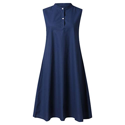 VECOLE Damenoberteile Sommer Mode Frauen Casual Rundhals Einfarbig Ärmellos Faux Leinen Lose Langes Kleid Rock Kleiden(Marine,XL) Pleated Faux Wrap