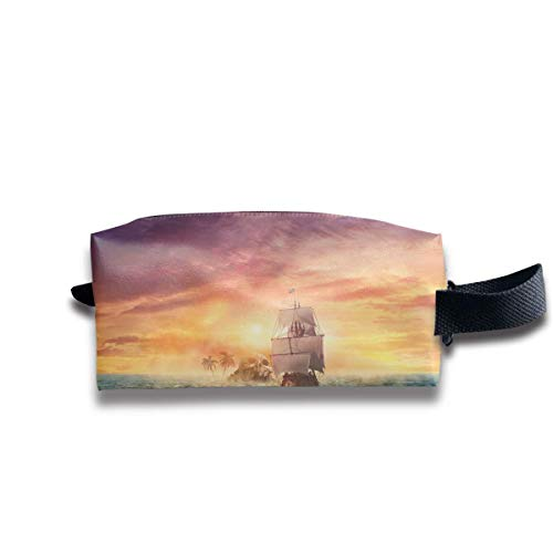 Pirate Ship Sunset Women Cosmetic Bag Travel Girls Oxford Toiletry Bags Funny Portable Hanging Organizer Makeup Pouch Pencil Case