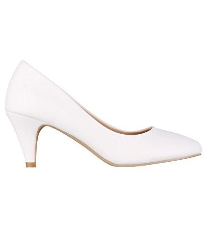 5791-WHT-6, KRISP Zapatos Tacón Salón Elegantes