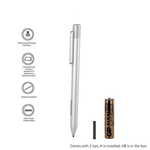 Surface-Stift für Microsoft Surface Pro 4, Surface Pro 3, Surface Pro 2017, Surface Book, Surface 3, 1024 Druckempfindlichkeit und Aluminiumgehäuse, AAAA Batterie und Stiftspitzen