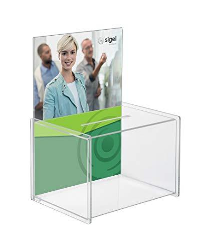 SIGEL VA150 Spendenbox / Losbox, mit Einstecktafel für A4, Acryl, 22,5 x 17 x 30 cm - weitere Modelle
