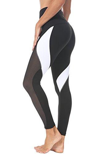 Yoga Leggings Neunte Hose Farbe Blocking Mesh Workout Laufleggings Strumpfhosen Farbe Schwarz Größe L ()