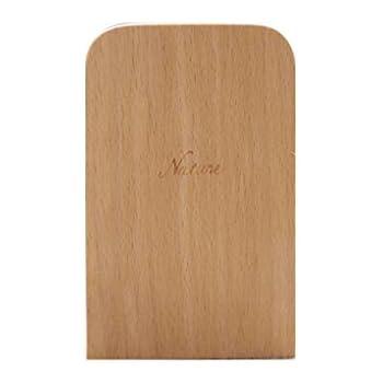 Qiulip Nature Wooden Desktop Organizer Desktop Office Home Bookends Anti-Skid Book Ends Stand Holder Shelf