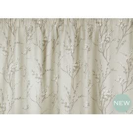 Laura Ashley Pussy Willow Natural Cotton Ready Made Pencil Pleat - Laura ashley silk curtains