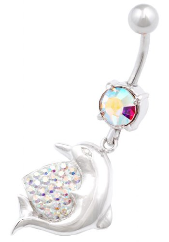 bauchnabel piercing bauch Chirurgenstahl Stecker mit Swarovski Kristalle Delphin Herz anhänger IAAE