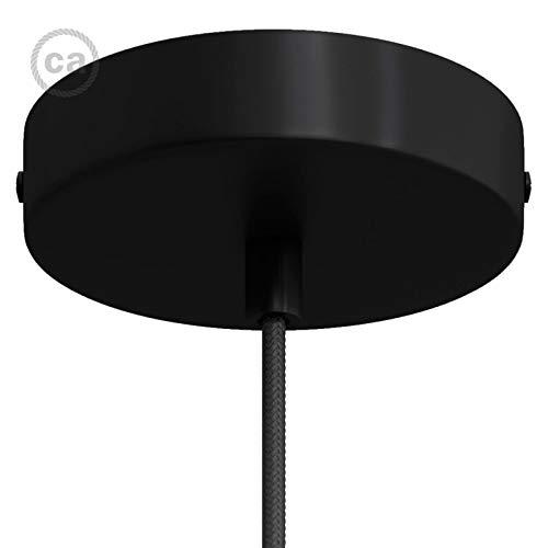 Creative-Cables Lampenbaldachin Kit Mattschwarz mit mattschwarzer zylindrischer Metall-Kabelhalterung -