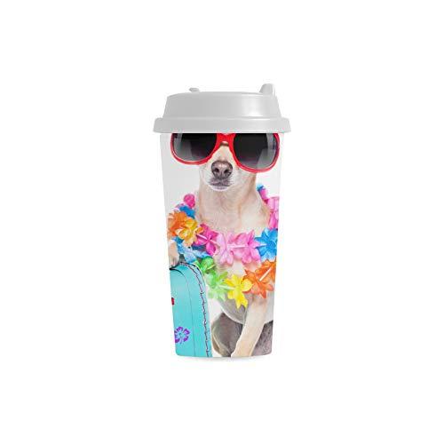 Happy Suitcase Dog Puppy Benutzerdefinierte 16 Unzen Doppelwandige Kunststoff Isoliert Sport Wasserflasche Tassen Pendler Reise Kaffeetassen Für Studenten Frauen Milch Teetasse Trinken (Milch Glas Kostüm)
