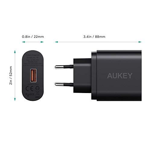 AUKEY Quick Charge 3.0 Cargador de Red 18W [Qualcomm Certificado] Cargador Móvil para Samsung Galaxy S8 / Note 8, LG G5, Nexus, HTC, iPhone XS/iPhone XS MAX/iPhone XR, iPad Pro/Air, Moto G4 y más