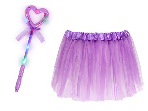 Leuchtstäbe Kostüm - Alsino Prinzessinnen Kostüm für Mädchen (Kv-172) - 2-teiliges Set mit Herz Leuchtstab und Tüllrock - Lila