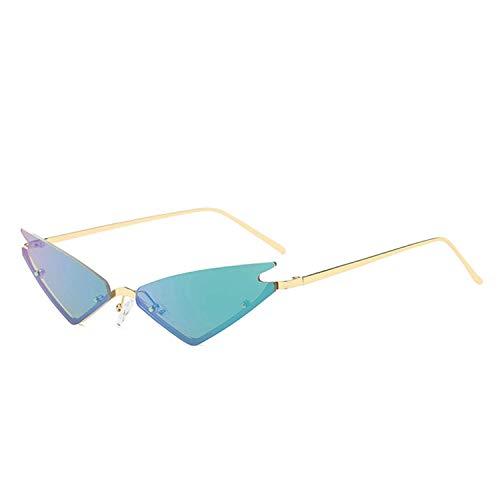 Jeewly Klassische Sportsonnenbrille, Cat Eye Semi-Rimless Sunglasses Women Half-Frame Small Sun Glasses Lady Blue Green Red Lens Eyewear UV400