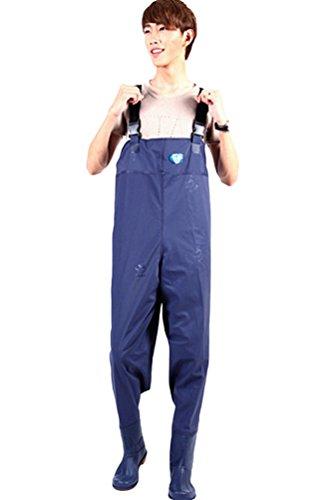 Lvrao Hommes Pêche Bottes De Travail Wader Pantalons Pour Pêcheurs À La Ligne En Pvc Dungarees Blue