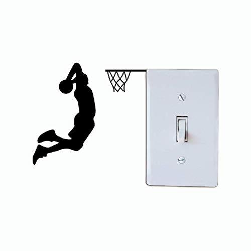 Fjiujin,Basketball-Spieler Dunk Silhouette Lichtschalter Aufkleber Cartoon Sport Vinyl Wall Decor(Color:SCHWARZ,Size:11 x 12 cm)