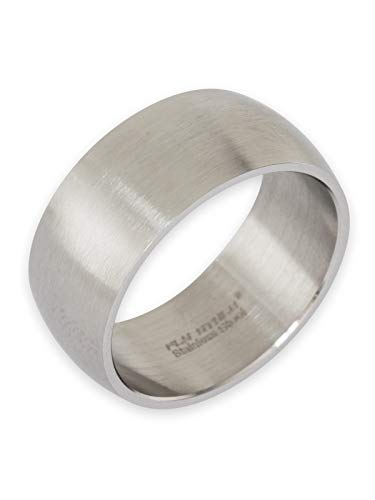 Fly Style Bandring Edelstahl Ring für Damen Herren | 8-12 mm breit | matt oder poliert, Ring Grösse:18.1 mm, Oberfläche:10mm Matt - Breites Silber Band-ringe