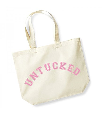 Untucked - Large Canvas Fun Slogan Tote Bag Natural/Pink